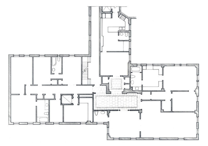 Plan for interior renovation combining two apartments