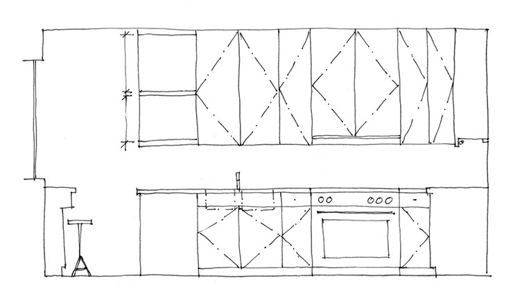 Preliminary sketch of kitchen